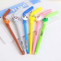 6Pcs Fashion Straw Cute Colorful Animal Ball Pen Office School Supply Stationery