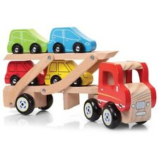 WOODEN CAR TRANSPORTER - TRADITIONAL CHILDRENS FUN COLOURFUL TOY CARS AND TRUCK