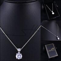 Halskette Doppel-Zirkonia, Kette Damen, Weißgold, Swarovski® Kristalle, im Etui