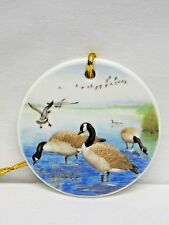 Canadian Geese in Water 3 In Round Porcelain Christmas Tree Ornament Fired Decal