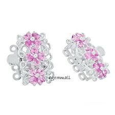 Fine Sterling Silver 4-strand Flower Pearl Box Clasp with CZ Pink #51464