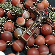 Rare Persian Red Agate Bead St. Saint Benedict catholic Rosary Necklace Cross