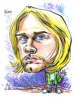 "KURT COBAIN Original Caricature Art 8.5"" x 11"" FREE SHIPPING"