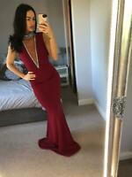 Goddiva Berry High Neck Embellished Dress Gown Long Fishtail Maxi Evening Prom❤