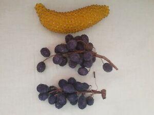 Vintage Beaded Fruit Lot Pushpin Craft Beads Banana Grapes Fruitbowl 3 Pieces