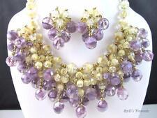 Vintage Purple & Cream Givre Art Glass Beaded Dangle Necklace & Earrings SET