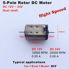 DC 12V 24V 20000RPM High   Speed 5-Pole Rotor Micro Motor RC car boat Dual shaft