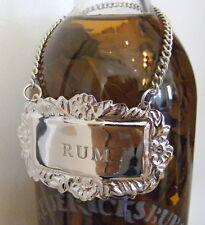 RUM Silver Engraved Liquor Decanter Label Emblem