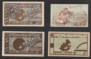 L.W. Durbin Foreign Stamp Importer 4 Illustrated Advertising Cards (3 Designs)