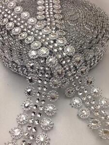 STUD Sunflower Silver DIAMANTE EFFECT RIBBON TRIM,WEDDING,Decorate,CRAFT,1 Yard