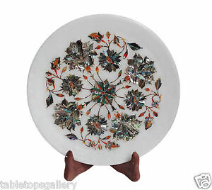 """9""""x9"""" White Marble Serving Plate Pauashell Floral Marquetry Inlay Decor H1334"""