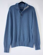Banana Republic Sweater Italian Yarn Merino Wool Men XL Mock Neck 1/4 Zip Button