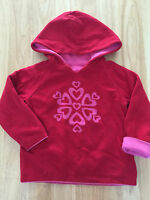 Baby Girl Cotton Reversible 2-3T Hoodie Pink Red With Hearts Warm Cotton