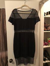 Black Mesh Body Con Dress By GUESS XL