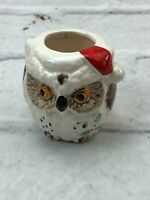 Vintage Cute Owl Porcelain Ceramic Tea Candle Holder White Brown 2""
