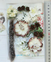 BROWN REDWOOD IVORY 34 Flower Mix 6 Tones 6 Styles PAPER & FABRIC 20-55mm VE4
