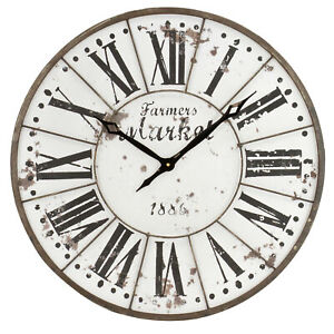 Rustic Industrial Round Wall Clock Vintage Farmhouse Accent Decor Metal Frame