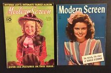 2 MODERN SCREEN Magazines SHIRLEY TEMPLE 1938 & 1944 Myrna Loy Donald OConnor