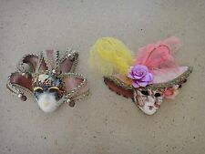 Set of 2 Handmade Porcelain Venice Masquerade Decorative Masks Made in Venice