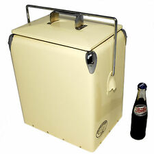 Retro Cool box PLAIN CREAM Cooler 17L Vintage Coolbox wedding present AAC079
