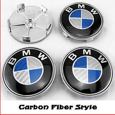 BMW E46 E60 E81 E87 E90 E91 BLUE CARBON FIBER ALLOY WHEEL CENTER CAPS 68mm x4