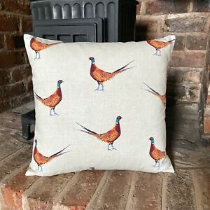 853. Handmade Pheasants 100% Cotton Cushion Cover Various sizes