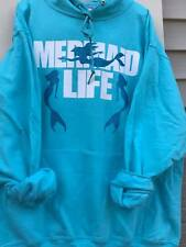 Custom Made MERMAID LIFE Pink or Blue GLITTER BLING Hoodie