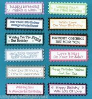 12 Happy Birthday Greeting Card Craft Scrapbook Sentiment Message Banners Tags
