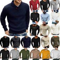 Men's Long Sleeve Knitted Winter Warm Sweater Casual Slim Plain Pullover Jumper