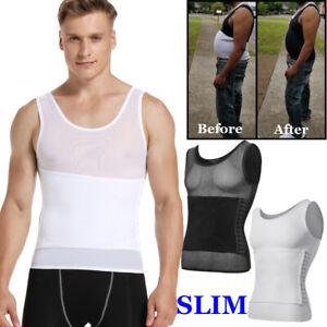 Mens Slimming Body Shaper Posture Corrector Vest Abdomen Compression Shirt Tops