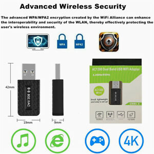 400Mbps Wireless USB Wifi Adapter Dongle Dual Band 2.4G/5GHz Network  Windows PC