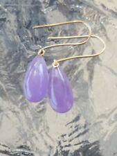 Chalcedony Purple Pear Cut Dangle Earrings 10kt Solid Yellow Gold