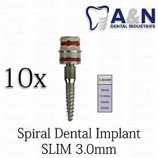 10 Slim SPIRAL Dental Implant Internal Hex Sterilized 3.0mm Titanium lot