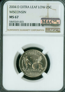 2004-D WISCONSIN STATE QUARTER EXTRA LEAF LOW NGC MS-67 PQ MAC SPOTLESS RARE .