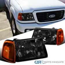 2001-2011 Ford Ranger Pickup Trunk Smoke Headlights+Amber Lens Corner Lamps Pair