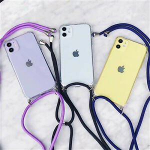 Neck Cross Lanyard Colorful Clear Case Cover For iPhone 11 12 Pro Max XS XR 8 7+