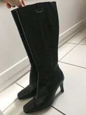 NINE WEST Black Leather Boots Size 4 Boxed