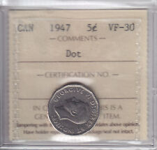 1947 Dot Canada Five Cents (Nickel) Coin - ICCS VF-30