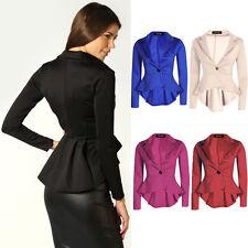 Button Patternless Blazer Casual Coats & Jackets for Women