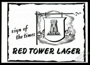 1945 Red Tower Lager beer pub sign design vintage print ad