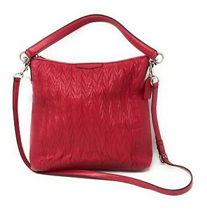Coach Gathered Leather Convertible Hobo With Removable Shoulder Raspberry 29167
