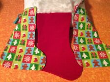 """Set of 3 Christmas Stockings 2 are Handmade 14"""" - Red With Faux Fur 18"""""""