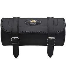 AQWA Motorcycle Motorbike Tool Roll Saddle Bag Luggage Storage Real Leather