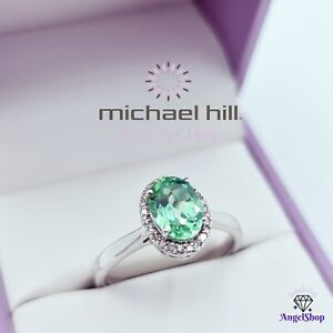 MICHAEL HILL 10ct White Gold Ring Diamond Sapphire Size O - 7.5 Value $900