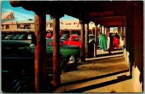 "Taos, New Mexico Postcard ""View of the Plaza"" Downtown Street Scene 1950s Chrome"