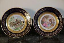 Paire d'assiettes porcelaine de Limoges signées Ribes incrustation or fin
