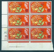 1964 Botanical (Phos) 9d No Dot Cylinder Block With Narrow Bands  MNH
