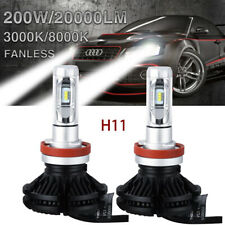 Fanless H11/H16EU LED Headlight Bulb Kit Hi/Lo Beam Car Lamp 3000K 8000K 6000K