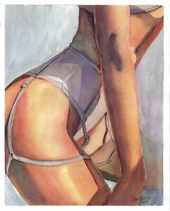 original painting 21 x 26 cm 156SE art watercolor modern female body half naked