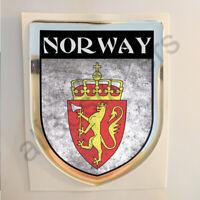 Pegatina Noruega Escudo de Armas 3D Grunge Bandera Resina Relieve Adhesivo